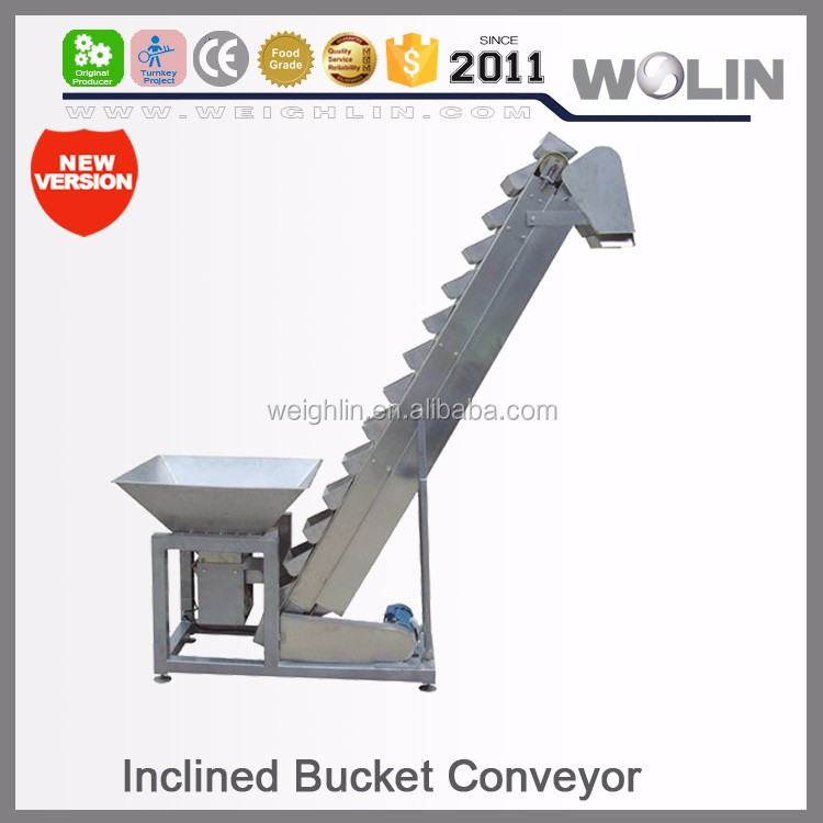 Welin New Flexible Bowl bucket inclined conveyor elevator feeder for food non food auto packing line system turnkey project