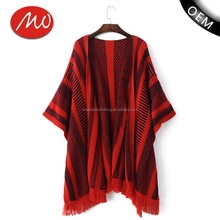 Womens knitting pattern open front wholesale cashmere poncho with high quality