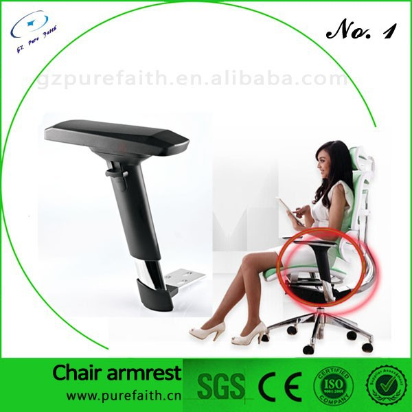 Electroplate Office Chair Arm Rest With Swivel PU Pad For Taipan Leather Chairs AC-24