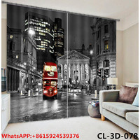 Black and white color and red bus printed lux curtain design for office and hotel