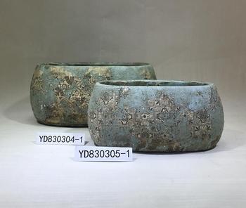 Antique cement planter pots