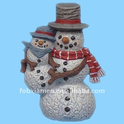 ceramic christmas bisque frosty snowman & little buddy ornament