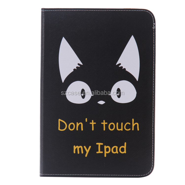 Fashion Color Print Stand Leather case for Ipad Mini 4,Carton Sleep Style Flip Cover Case for Ipad Mini 4