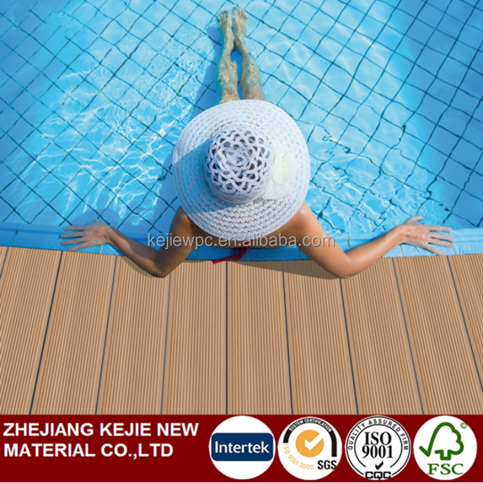 Low Cost Anti UV Wood Plastic Composite Boards Swimming Pool Deck Outdoor Floorings Eco Friendly Exterior WPC Decking