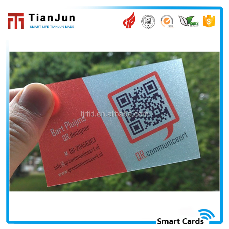 Thick transparent white printed business card with QR code