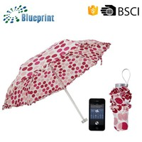 6K Panel Promotional Gifts Dots Printed Lace Folding Umbrella On Sale