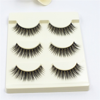 Wholesale charming reusable 3pairs/pack synthetic hair eyelashes manufacturer