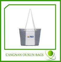 custom high quality eco cotton beach bag with rope handle