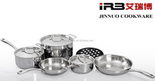 9-PC TRIPLY Stainless Steel Induction Cookware Set (20cm Casserole,16cm 18cm Milk Pan, 20cm 24cm Frying Pan)