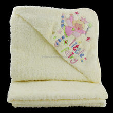 soft 100% cotton embroidery baby hooded towel Dobby Style and Hooded Towel Type Cotton Baby Hooded Towels