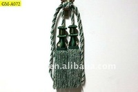Green Polyester Yarn Tassel Tieback Two Skirt of Green Fringe For Curtain Drapery Purdah Door Curtin Mosquito Net