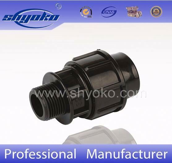 big pressional supplier for pp compression fittings black plastic male adapter for hdpe pipe
