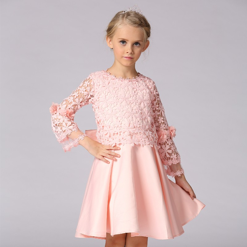 New Fashion Kids Clothes Girls Long Sleeve Frock Designs Baby Daily Wear Lace Dress <strong>L</strong>-92