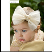 Baby Girl Headband with Bow Infant Girls Hair Bows Headbands Lace off white Hairband
