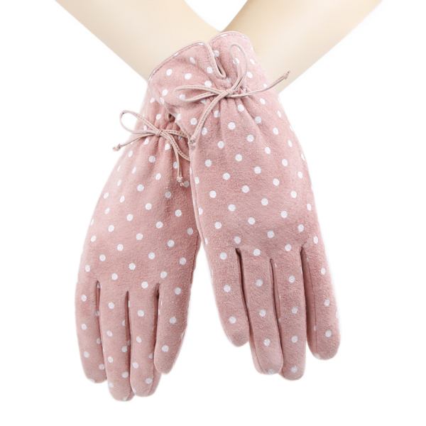 Pink Color with White Dots Printed Girls Cute Suede Gloves