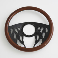 China 14 inch machined Solid 6061 Aluminum Billet Black Steering Wheel Half Wrap