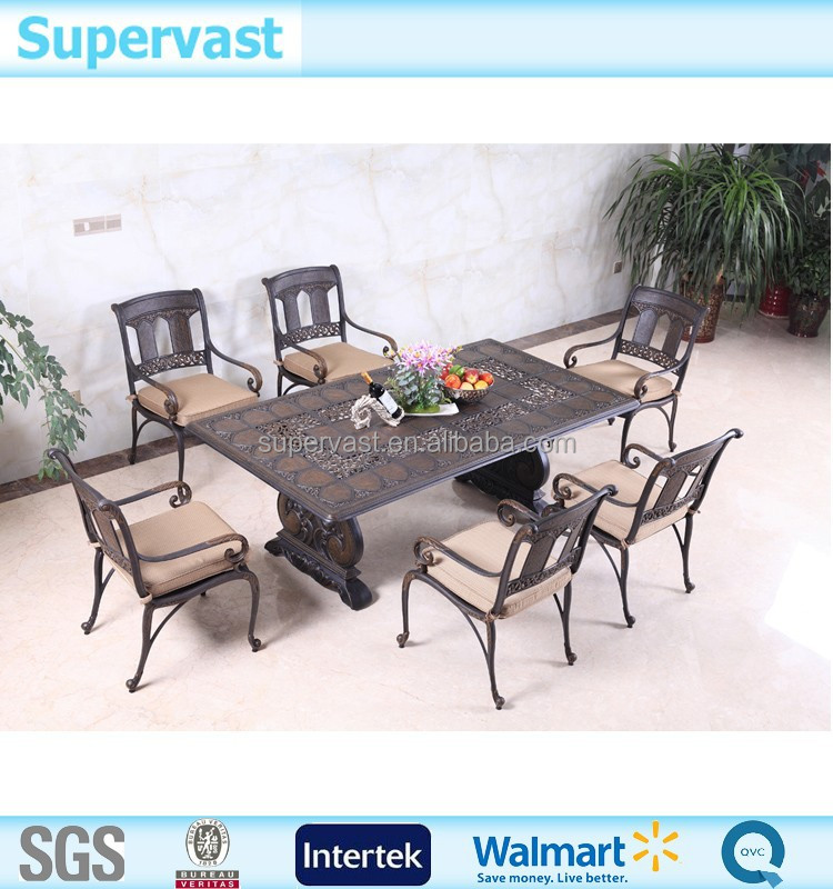 Top New 2017 Luxury 7PC Aluminum Garden Chair & Table With Hand Brush