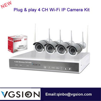 P2P Mobile Surveillance Plug & play 4 CH Wi-Fi IP Camera NVR Kit Cloud Server Remote Control Outdoor Wireless Security System
