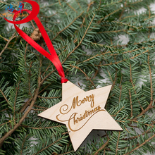 christmas ornaments hot sale european style hollowed-out wooden star hanging small christmas decoration