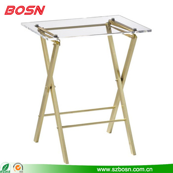 2017 Popular elegant clear acrylic folding table with brass legs for sale
