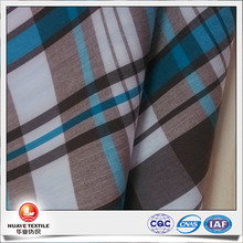 yarn dyed plaid cotton elastane stretch poplin fabric with coolplus