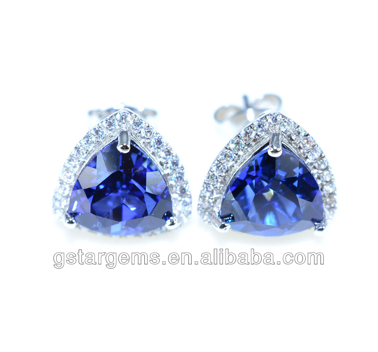 925 Stering Silver Created jewelry Blue Sapphire Set Gemstone Jewelry Hong Kong Wholesale
