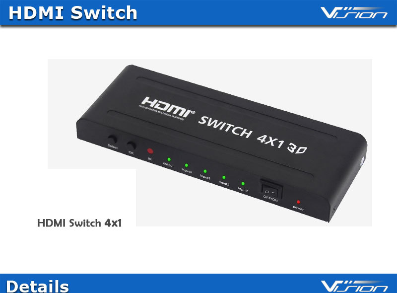 High speed 1080p 4x1 HDMI switch with IR remote controller