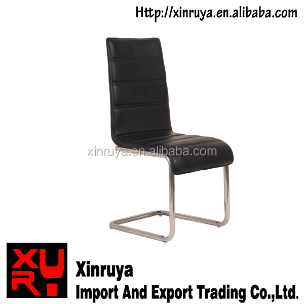 Contemporary leather chrome office chair with base