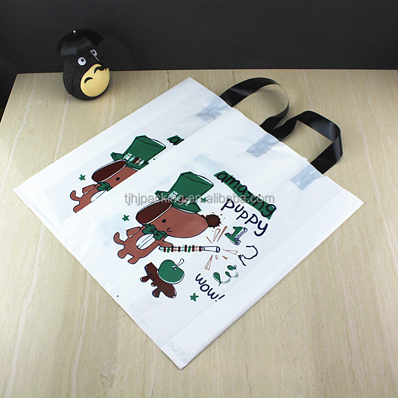 customizable printed translucent dog pattern plastic bags/clothes plastic packing bags/shopping bags