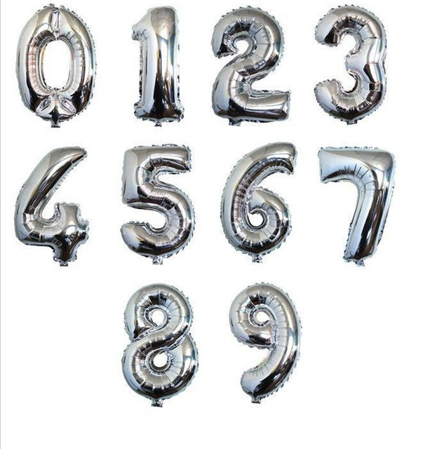 1p 32inch Large Silver Number Balloon Aluminum Foil  Helium Balloons  Birthday Wedding Party Decoration Celebration Supplies