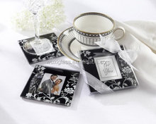 Timeless Traditions Elegant Black & White Glass Photo Coasters - Baby Shower Gifts & Wedding Favors