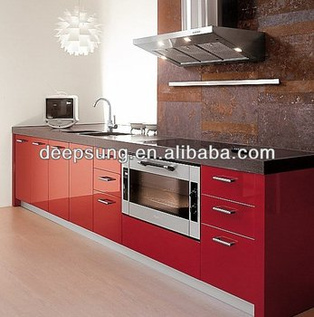 Kitchen cabinet red high gloss lacquer MDF door for project house