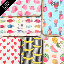Hot selling fruits printed cute woman faux leather wallet
