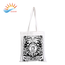Wholesale customised eco-friendly natural cotton canvas tote bag long handle