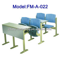 School furniture student connected wood desk with plastic chair FM-A-022