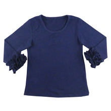Hot Selling fashion girls long sleeve pure cotton round collar kids t shirts