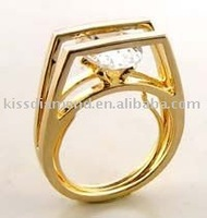18k Gold Plated White CZ Ring Guard