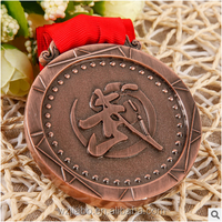 Custom antique brass plated martial art sports award metal medal