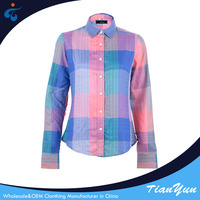 Customized comfortable flannel rayon check designs ladies shirt cutting