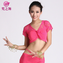 S-3035 Factory supply cotton belly dance costume professional lace top for women