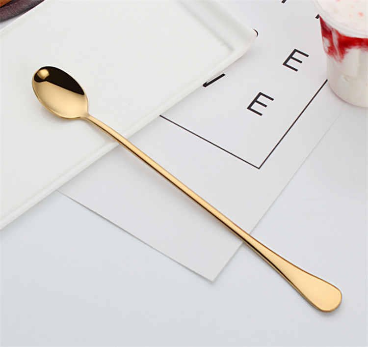 Long handle 304 food grade stainless steel honey spoon Ice cream spoon