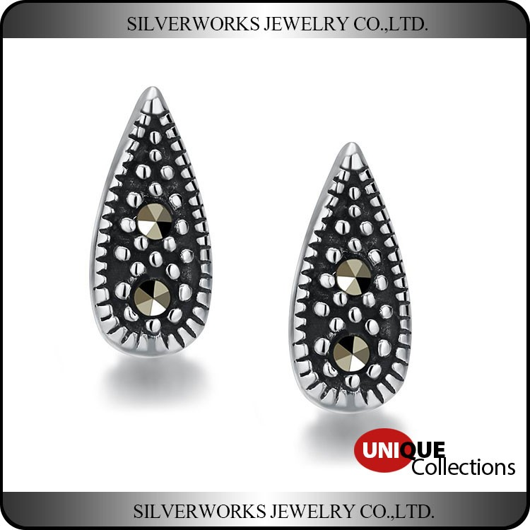 Retro 925 Sterling Silver Water-drop Oxidized Zircon Cool Stud Earrings