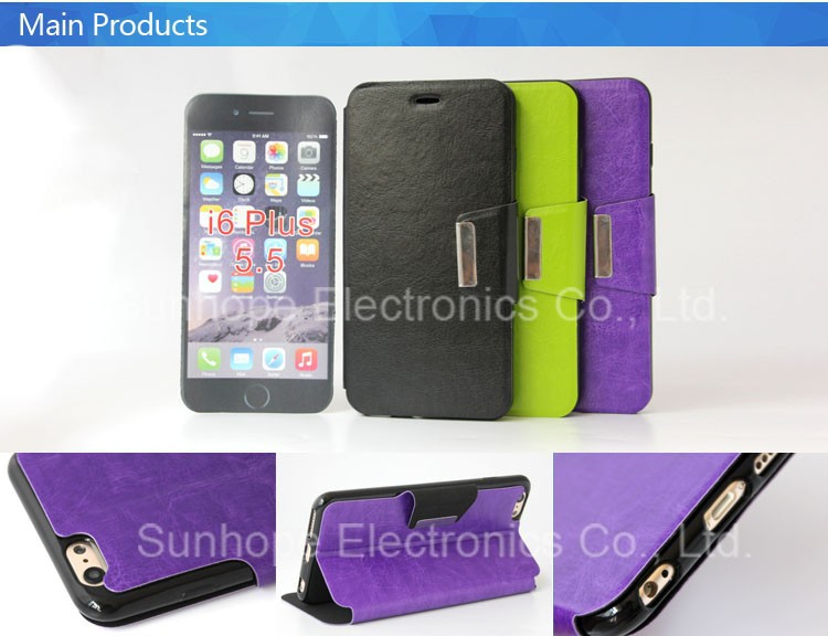 2015 New Arrival TPU PU leather stand cover For iphone 6 plus