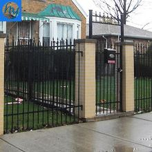 black polyester painting metal fence black powder coated steel fence black powder coated Wrought iron fence