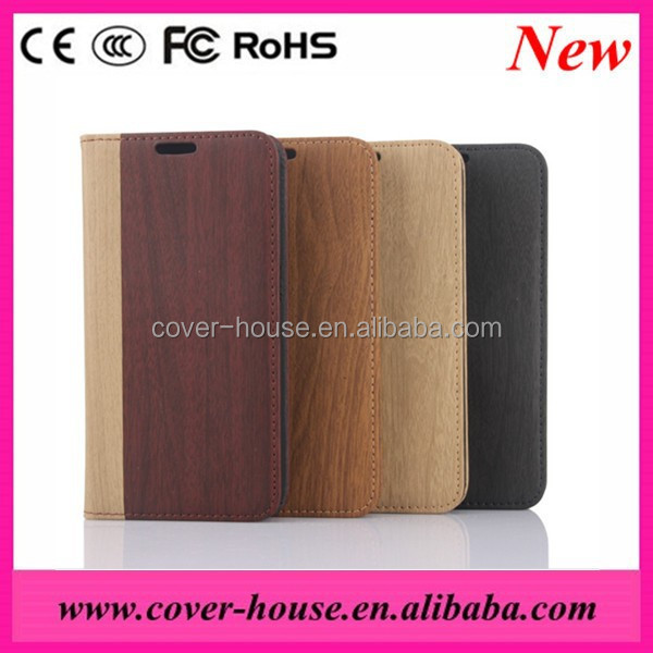 High Quality Wood Grain Flip Case PU leather Wallet Stand case for iPhone 6