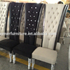 High back wooden luxury crystal white and black velvet banquet chair