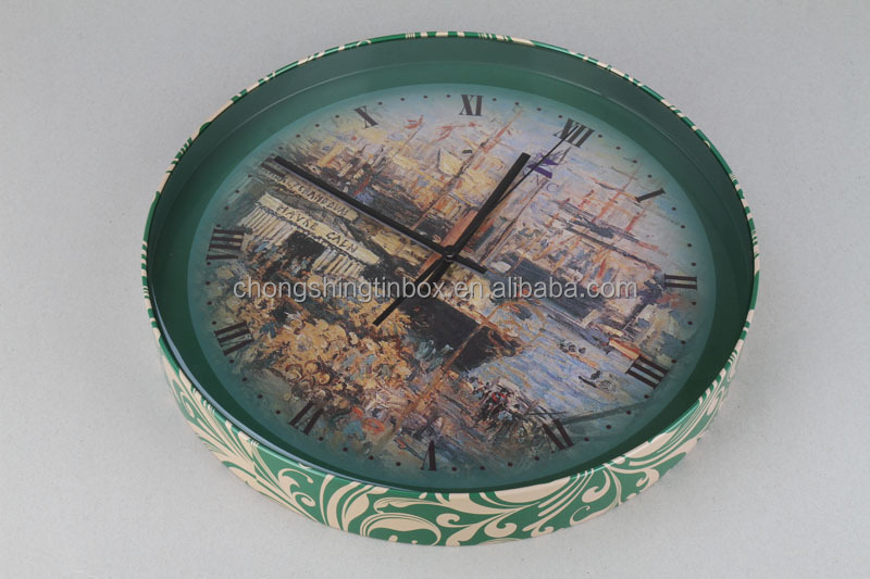 Round shape clock tin box