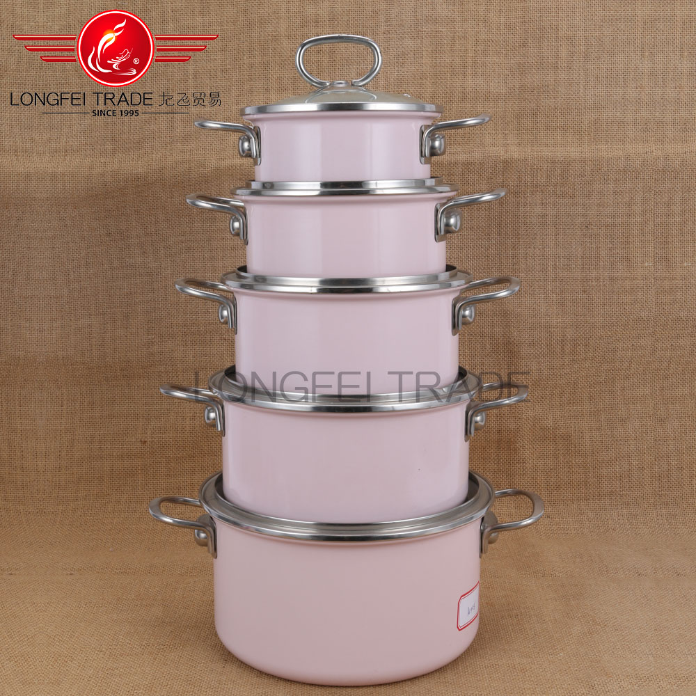 5pcs pink glass lid enamel coated cast iron cookware wholesale