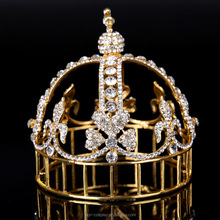Gold Antique Metal Crystal King Tiara Baroque Round Full Circle Tiara Crown