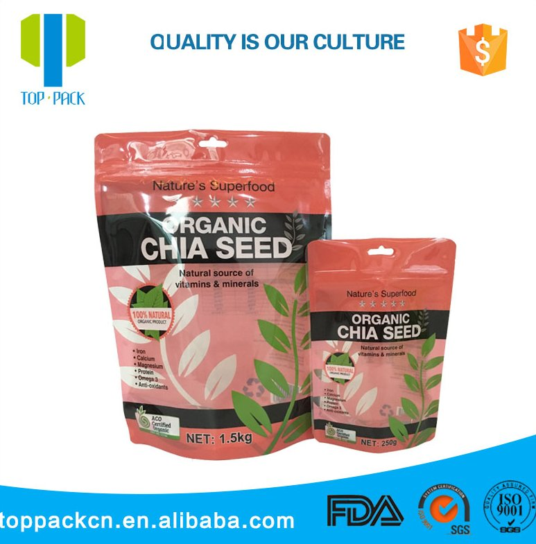 Custom Printing Glossy Pet Pe Bag Zipper For Chia Seeds Food Packaging With Ziplock Pouch
